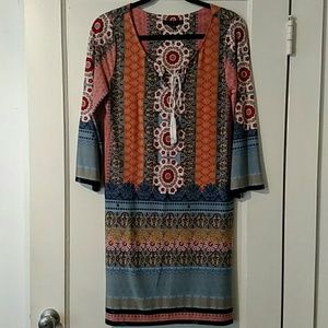 Tiana B. Colorful Polyester Dress Sz Med